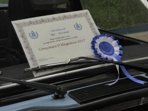 The certificate with winning rosette